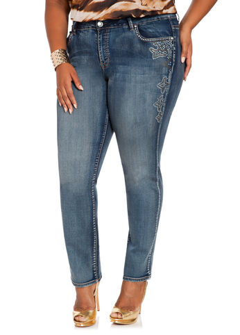 Skinny Rhinestone Trim Denim