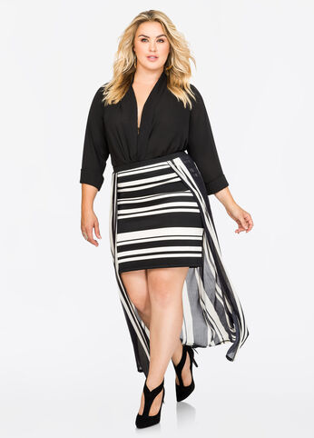 Hi-Lo Stripe Maxi Skirt