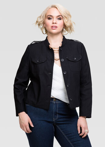 Faux Leather Trim Military Jacket