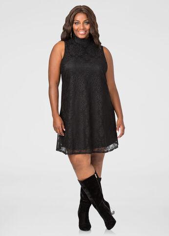 Lace Mock Neck Floater Dress