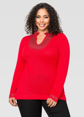 Stone Embellished Tunic Sweater