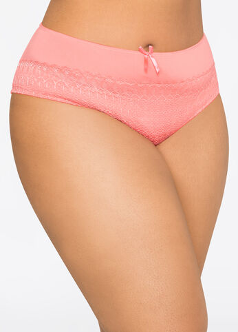 Lace Microfiber Hipster Panty