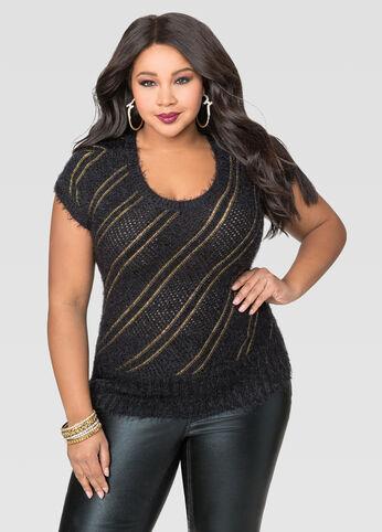 Metallic Diagonal Stripe Pullover Sweater