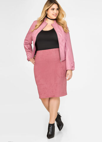 Microsuede Pencil Skirt