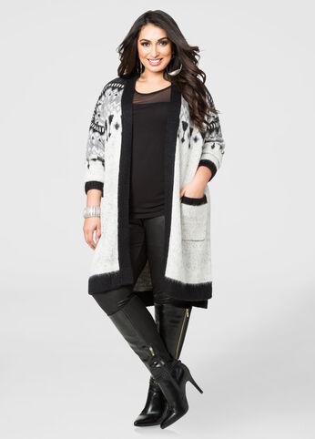 Geo Print Boyfriend Cardigan Sweater