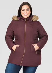 Ruched Side Winter Puffer Coat