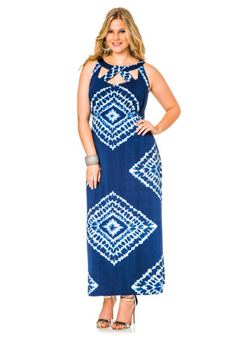 Caged Neck Tie Dye Maxi Dress