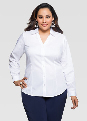 Button Front V-Neck Shirt