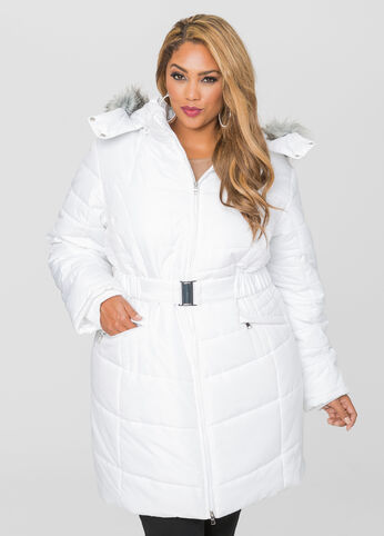 Belted Puffer Winter Coat
