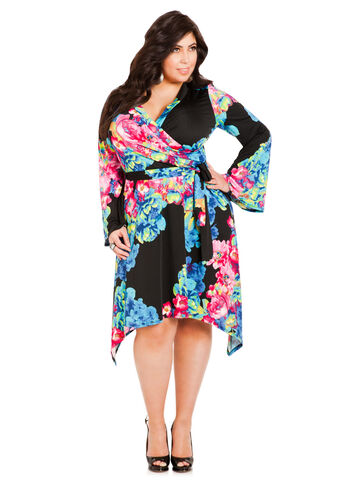 Hanky Hem Floral Wrap Dress