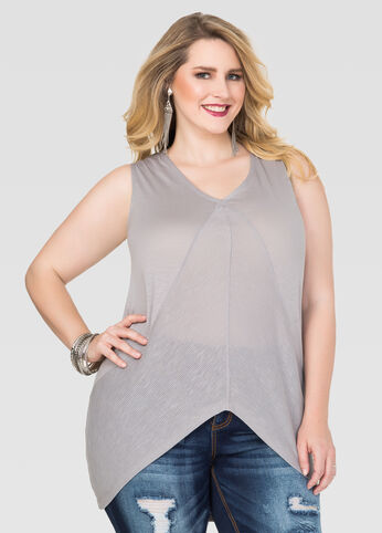 Plus Size Ribbed Insert Hi-Lo Tank in Grey - Front