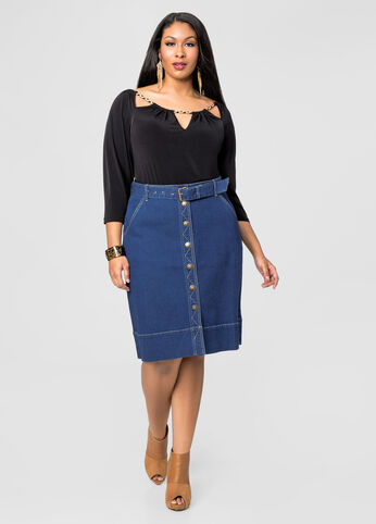 Midi Button Front Jean Skirt