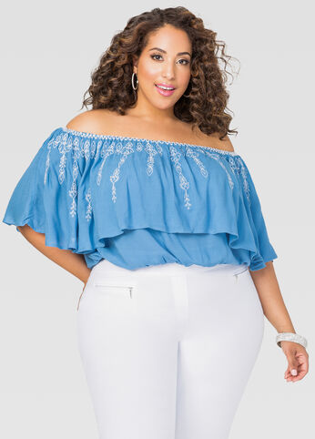 Cropped Off-Shoulder Peasant Top