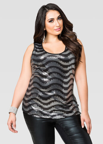 Ikat Stripe Sequin Top
