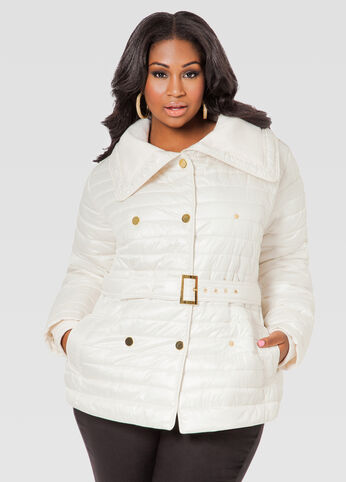 Ribbed Knit Collar Belted Puffer Coat
