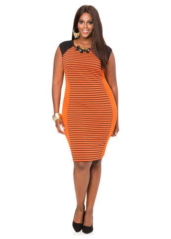 Striped Blocked Sheath Dress