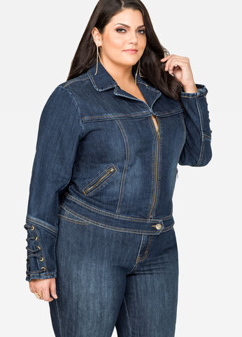Lace-Up Sleeve Jean Jacket