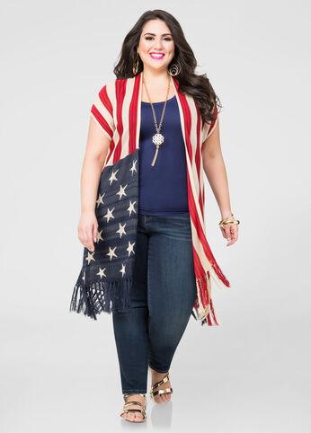 American Flag Fringe Cardigan
