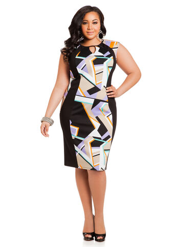 Geo Print Ponte Sheath Dress