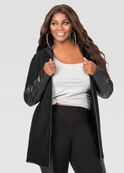 Hooded Faux Leather Cardigan