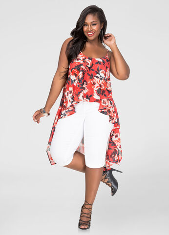 Plus Size Floral Hi-Lo Tank in Orange - Front