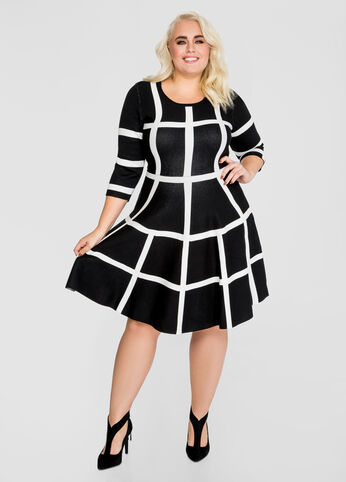 Windowpane Jacquard Sweater Dress
