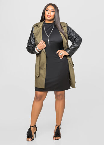 Leather Sleeve Moto Trench Jacket