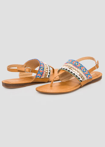 Beaded T-Strap Sandal - Wide Width