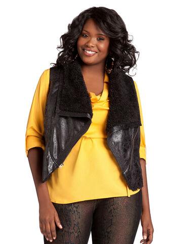 Faux Shearling Asymmetrical Zip Vest