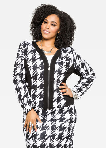 Zip Front Houndstooth Jacket