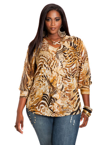 Animal Print Ruffle Front Top