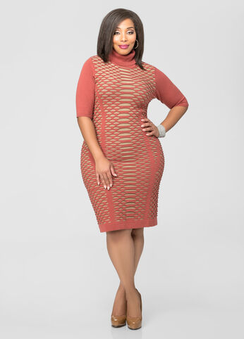 Rip Stitch Turtleneck Sweater Dress