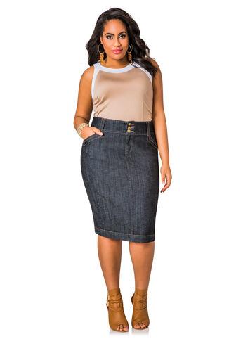 Tab Back Pocket Denim Skirt