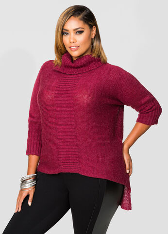 Hi-Lo Cowl Neck Sweater