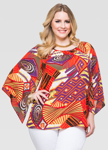 Tribal Open Sleeve Peasant Blouse