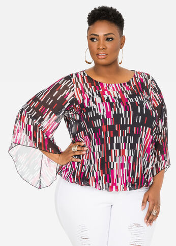 Printed Mesh Bubble Top Very Berry - Tops