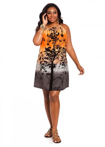 Web Exclusive: Sunset Print Cutaway Shift Dress