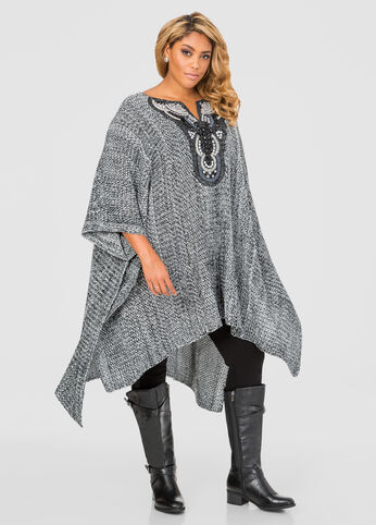 Embellished Poncho Sweater