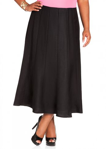 Linen Full Skirt with Panel Detailing