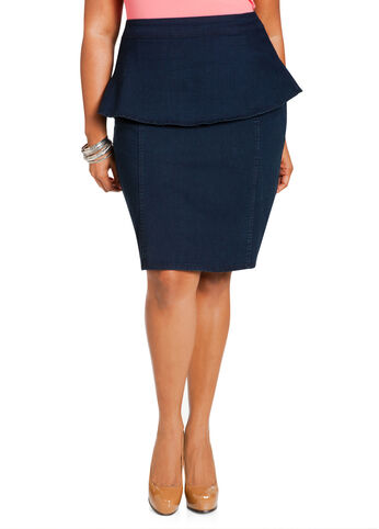 Indigo Peplum Pencil Skirt