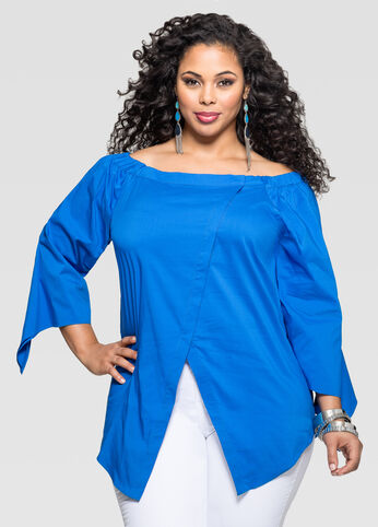 Off-Shoulder Crossover Front Shirt