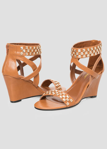 Studded Wedge Sandal - Wide Width