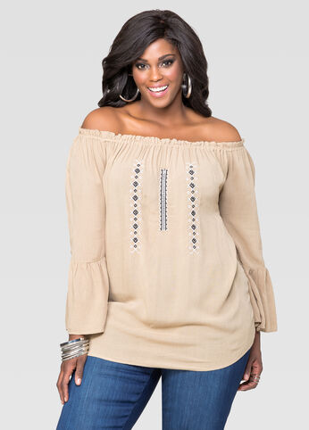 Embroidered Off Shoulder Peasant Top