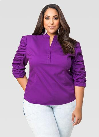 Mandarin Collar Ruched Sleeve Shirt