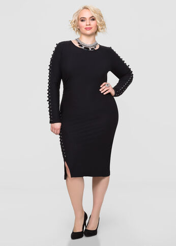 Plus Size Solid Exposed Zip Lace-Up Dress Black