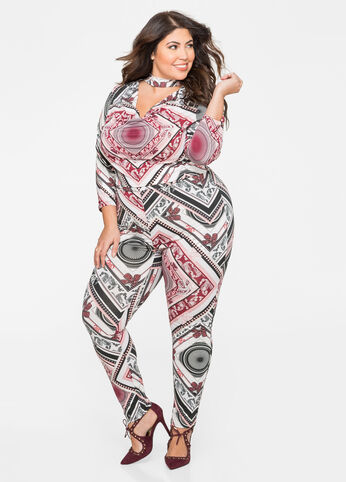 Printed Drape Front Catsuit