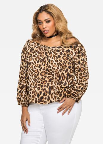 Leopard Off-Shoulder Peasant Blouse