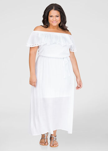 Lace Trim Off-Shoulder Maxi Dress