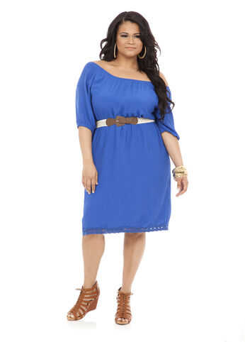 Peasant Neck Belted Gauze Dress