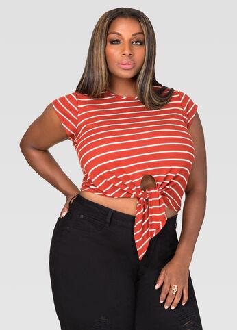 Striped Tie Front Crop Top